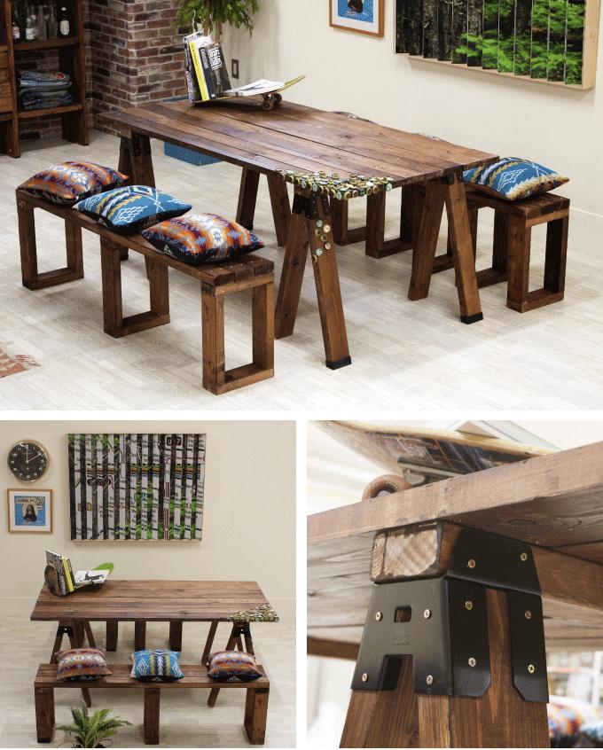 木材の色を工夫して男前インテリアにもピッタリのテーブルが作れます!