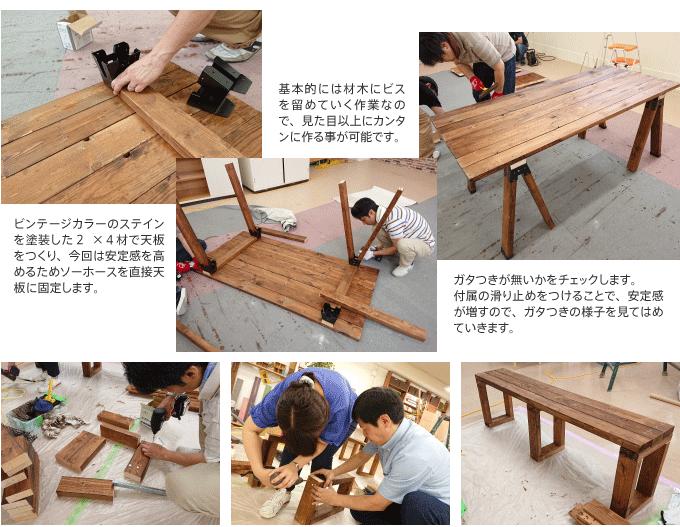 ビンテージカラーのステインで木材をつそうしてかっこよく。別売りの滑り止めをつけることでガタツキが少なく安定します。