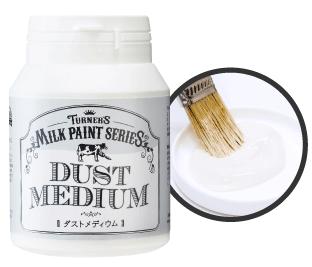 【ダストメディウム】ホワイトベージュのとろみあるメディウムです。完全に 乾燥したミルクペイントの上に塗装すると、白く、くす んだ仕上がりになりアンティークな風合いが増します。