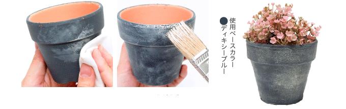 STEP 01使用前にはよくかき混ぜてくださ い。塗装したミルクペイントが完 全に乾いてから塗り始めます。STEP 02 希釈せずに使用してください。 広い面にはウエス(布)にメディ ウムを少量つけてなじませます。 薄くこすりつけるように塗ります。STEP 03 細かいところは刷毛でかすれさせ るように塗ります。 ホコリのつきやすい場所を重点的 に汚すと、粉っぽさが増しより古 びた風合いに。