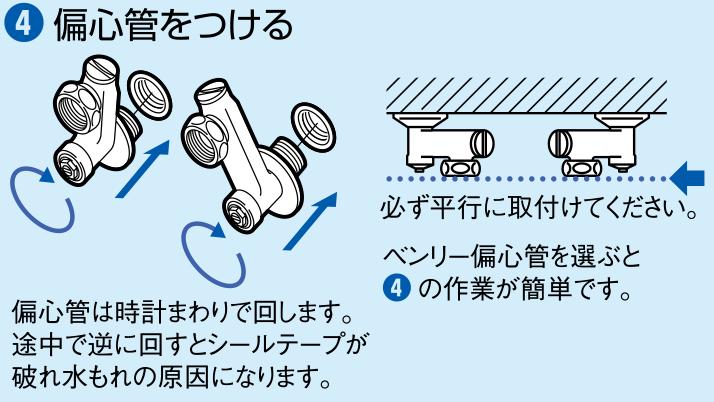 ④偏心管をつける