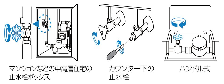 マンションなどの中高層住宅の止水栓ボックス。カウンター下の止水栓。ハンドル式。※止水栓がどこにあるかわからない場合は、水道局にお問い合わせください。 止水栓を閉めたら、水が止まっているか必ずチェックしてください。