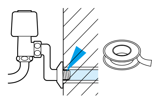 シールテープの傷みが原因による水栓と壁の間の水もれ