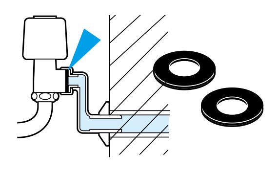 偏心管パッキンの傷みが原因による偏心管と本体の間の水もれ